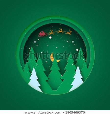 Vrolijk christmas briefkaart papier gesneden pijnboom Stockfoto © robuart