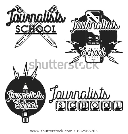 Сток-фото: Color vintage journalists school emblem