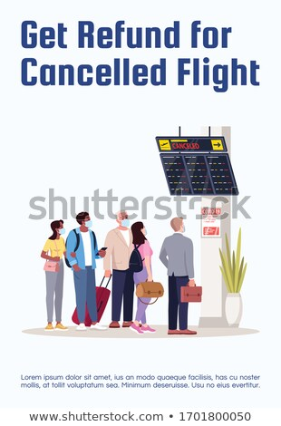Flight Delayed, Cancelled Cartoon Vector Poster Template Stock photo © pikepicture