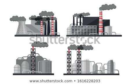 Photo stock: Toxic Gas Discharge from Plant, Factory Vector