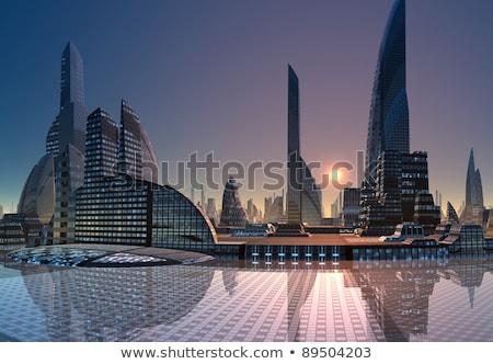 futurystyczny · Cityscape · streszczenie · ilustracja · panoramę · drogowego - zdjęcia stock © genestro