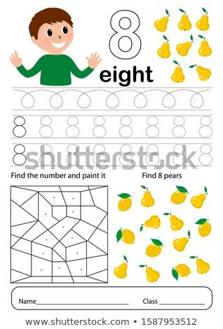 Menino número oito modelo ilustração criança Foto stock © colematt