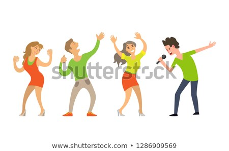 singing boy and listeners on blue side view vector stock photo © robuart