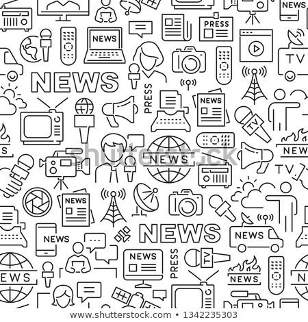 Masa mediów wzór laptop komputer osobisty dziennikarz Zdjęcia stock © netkov1