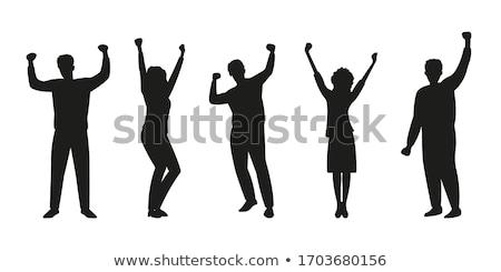 Dancing Woman Raising Hand Up, Disco Dancer Vector Stock photo © robuart