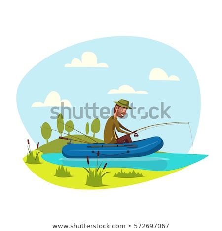 Smiling People Fishing, Inflatable Boat Vector Stock photo © robuart