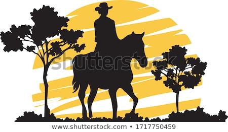 Cowboy Riding Horse Silhouette Sunset Background Stock photo © Krisdog