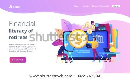 Finansowych umiejętność czytania i pisania lądowanie strona konsultant fundusz Zdjęcia stock © RAStudio