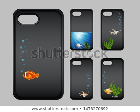 Graphic design on mobile phone case with fish underwater Stock photo © bluering