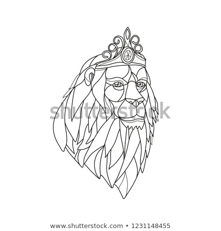 León princesa tiara mosaico blanco negro Foto stock © patrimonio