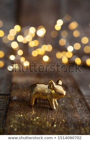 Lucky pig in front of bokeh lights Stock photo © BarbaraNeveu
