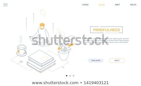 Stock photo: Mindfulness - line design style isometric web banner