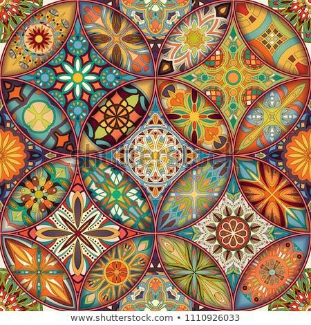 Kolorowy mozaiki nieskończony kwiatowy Zdjęcia stock © lissantee