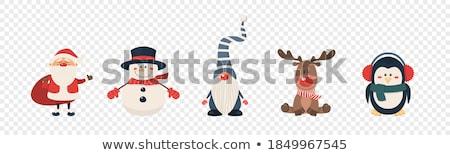 Cute Święty mikołaj gnom snowman projektu Zdjęcia stock © balasoiu
