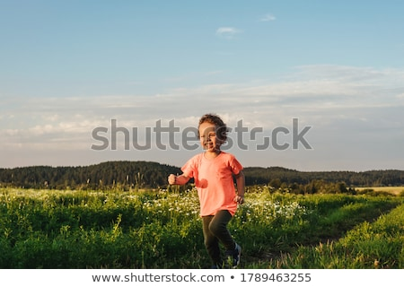 little boy at the sunset in a field Stock photo © Lopolo