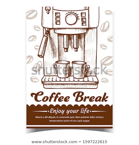 Eszpresszó gép kettő csészék rajzolt poszter Stock fotó © pikepicture