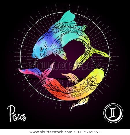 Black zodiacs pisces Stock photo © cidepix
