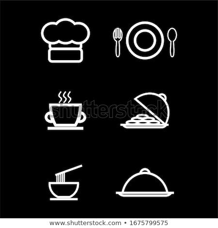Villa konyhai eszköz szakács sapka étterem logo vektor Stock fotó © vector1st