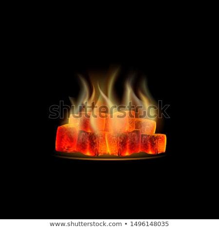 Węgiel neon ognia promocji świetle kuchnia Zdjęcia stock © Anna_leni