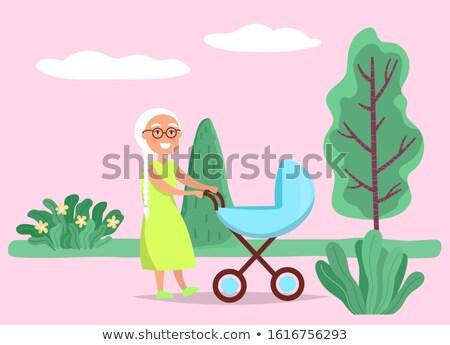 Oma lopen zuigeling kinderwagen vector grootmoeder Stockfoto © robuart