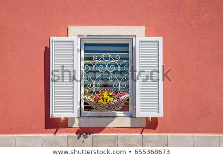 Blue Window on Old Wall Stock photo © pixelsnap