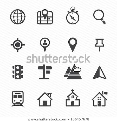 Pusula dünya simgeler beyaz iş harita Stok fotoğraf © dayzeren