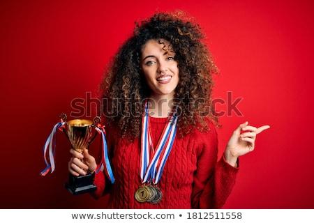 giovani · donna · d'affari · vincente · trofeo · ritratto · eccitato - foto d'archivio © piedmontphoto