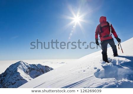 Tél hegymászás sportok mozgás elmosódott égbolt Stock fotó © photocreo