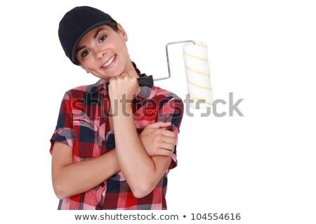 Verlegen vrouw verf hand home Stockfoto © photography33