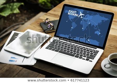online · podróży · rezerwacja · shot · paszport · laptop - zdjęcia stock © aremafoto
