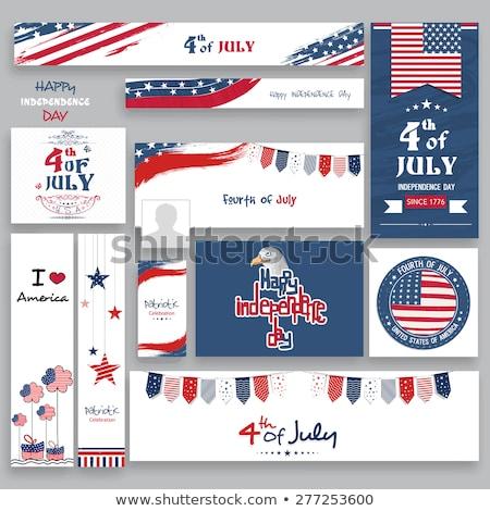 Negyedike nap Egyesült Államok Amerika poszter grafikus Stock fotó © leonido