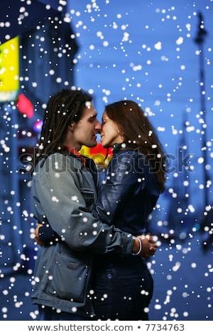 Flörtölő pár játszik hó nő család Stock fotó © photography33