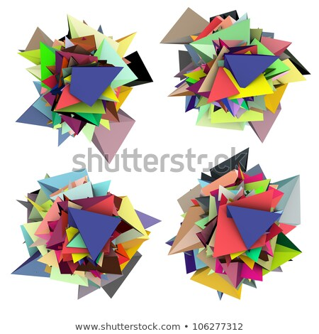 3d abstract fragmented colored spiked shape on white Stock photo © Melvin07