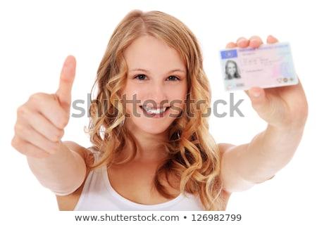 ブロンド 代 運転 ライセンス 幸せ 肖像 ストックフォト © photography33