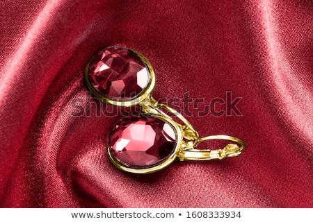 Ouro brincos rubi moda vermelho antigo Foto stock © RuslanOmega