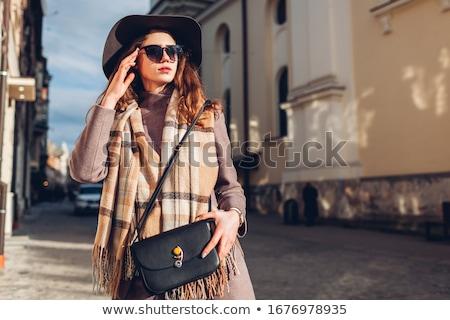 Mulher jovem extravagante roupa mulheres preto Foto stock © phbcz