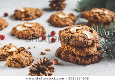 гайка Cookies продовольствие древесины фон зеленый Сток-фото © haiderazim