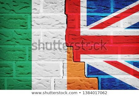 Zászló Írország téglafal festett grunge textúra Stock fotó © creisinger