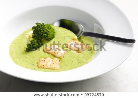 brokkoli · leves · makréla · tányér · zöldség · étel - stock fotó © phbcz