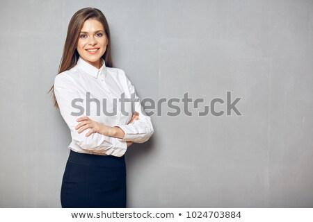genç · kadın · gri · iş · takım · elbise · konuşma · telefon - stok fotoğraf © acidgrey