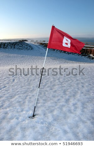 Сток-фото: Links Golf Course Green With Snow And Red Flag