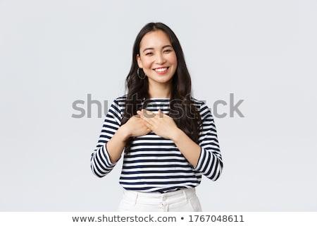 mulher · jovem · coração · retrato · encantador · jovem - foto stock © Andersonrise