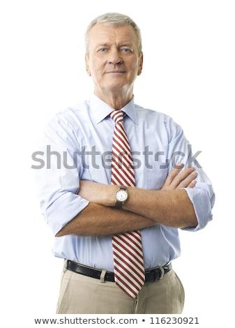 Portret uśmiechnięty człowiek garnitur biały ręce Zdjęcia stock © wavebreak_media