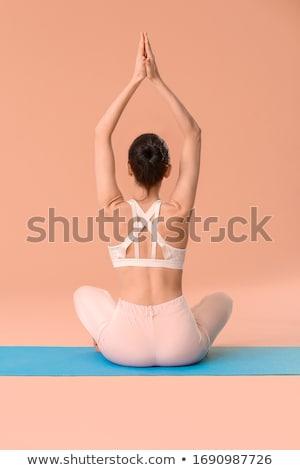 sakin · genç · kadın · oturma · lotus · pozisyon · açık · havada - stok fotoğraf © luckyraccoon