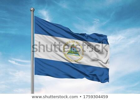 Tecido textura bandeira Nicarágua azul arco Foto stock © maxmitzu