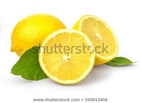 Bölüm sarı limon dilim yalıtılmış beyaz Stok fotoğraf © boroda