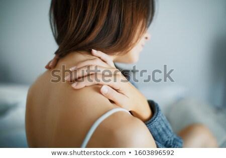 mulher · pescoço · branco · mão · dor - foto stock © wavebreak_media