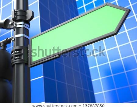 Blank Arrow Raodsign on Blue Background. stock photo © tashatuvango