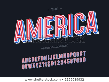 Stock photo: Colored alphabet with stripes and stars