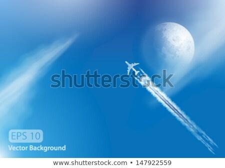 Vetor avião nuvens lua condensação trilha Foto stock © Jugulator